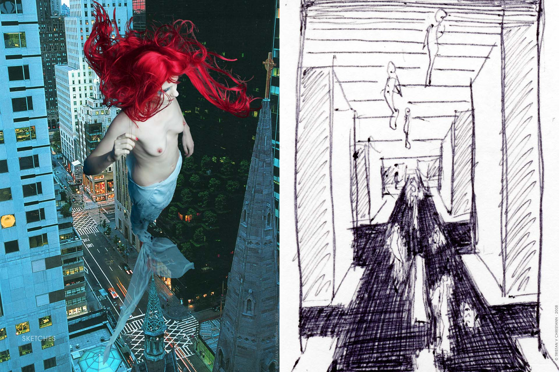 Tristan V Christann, Fantasy, Gaia Award, Moondance Filmfestival, Spirit of Da Vinci, Manhattan Mermaid_18 Sketches 2009